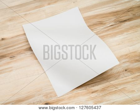 White template paper on wood texture