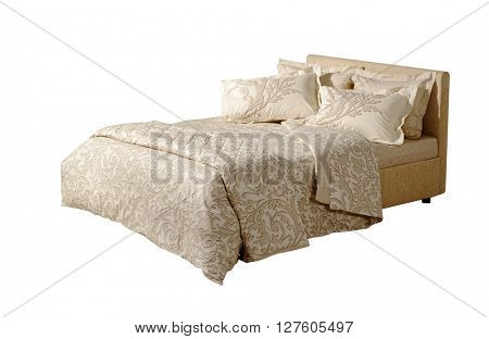 double bed isolated on white with classic style floral covers