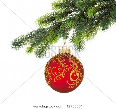 Christmas tree branch with Christmas ball isolated on white