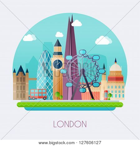 London. Skyline And Vector Landscape Of Buildings The Capital Of Great Britain. Big Ben, Bridge, Dou