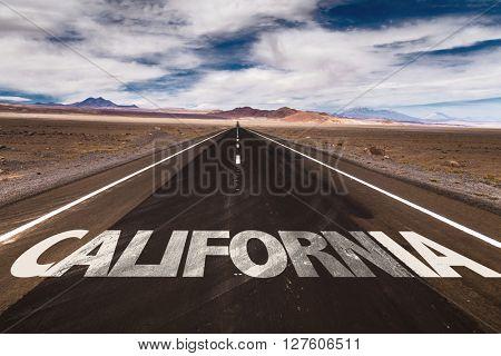 California written on desert road