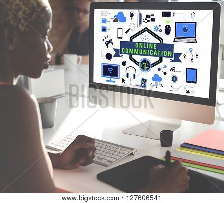 Business Woman Working Computer Technology Concept