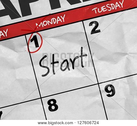 Concept image of a Calendar with the text: Start