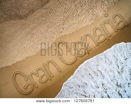 Gran Canaria written on the beach