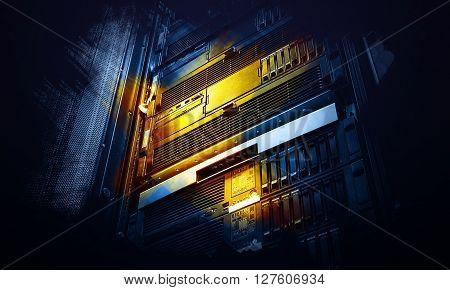 burgundy array supercomputer center in data processing art