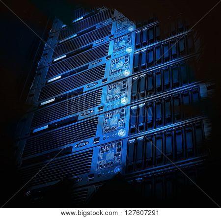 modern blade server in the data center art idea concept
