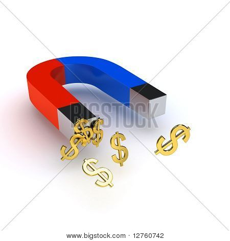 Two Color Magnet Over White Background