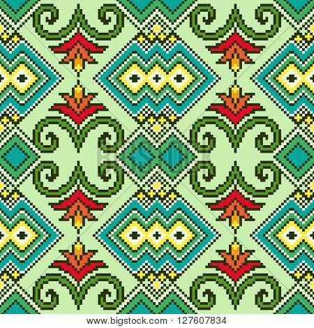 Geometrical and Floral Ornamental Seamless Vector Pattern as a fabric Ukrainian ethnic traditional embroidery texture