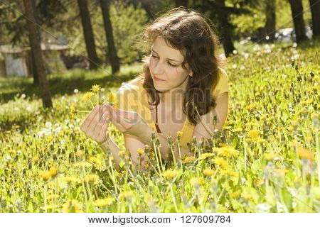Yount woman lays on meadow with yellow dandelions