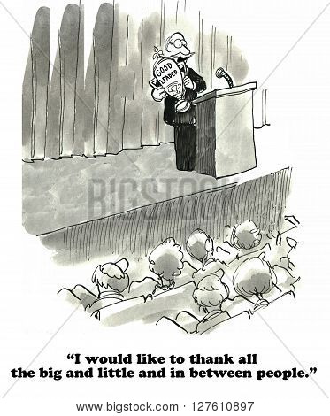 Business cartoon about making a big faux pas when giving a thank you speech.