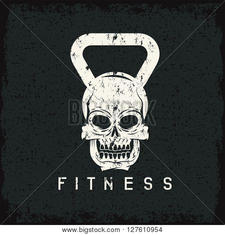 Grunge Skull In The Form Of Kettlebell Fitness Concept