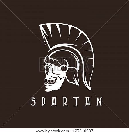 Old Vintage Antiques Skull Spartan Warrior Vector Design Template