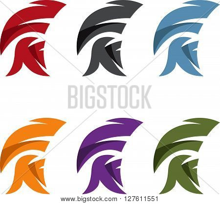 simple vector illustration set of spartan helmet