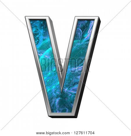 One letter from blue fractal alphabet set isolated over white. 3D illustration.