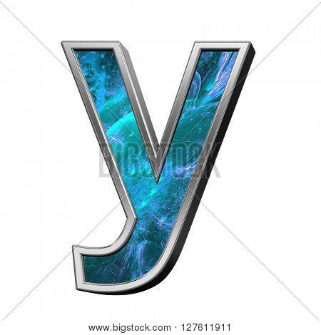 One letter from blue fractal alphabet set isolated over white. 3D illustration