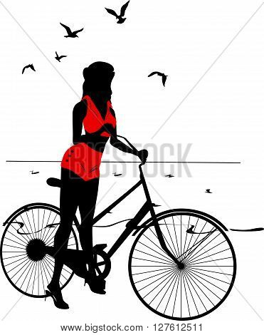 Elegant pinup girl on a bicycle near the sea. Stylish retro beautiful person for fashion design. Stylish silhouette illustration.  Elegant vector style.