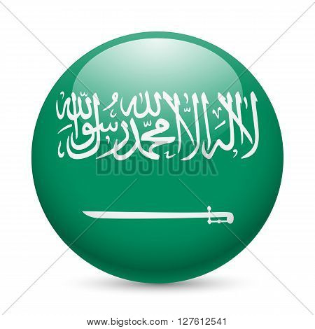 Flag of Saudi Arabia as round glossy icon. Button with flag design