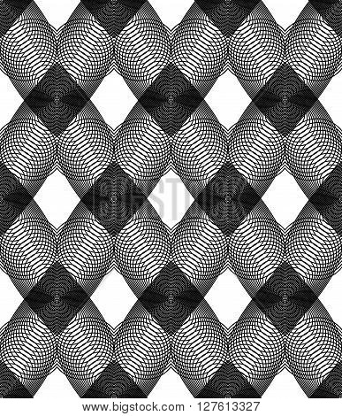 Vector Monochrome Stripy Endless Pattern, Art Continuous Geometric Background With Graphic Lines And