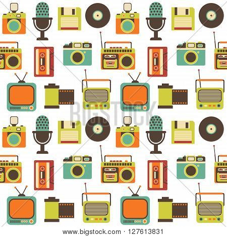 Vector Seamless Pattern with Retro Media technology, flat icons set of tv, radio, photo camera, cassette, tape recorder, film strip, microphone, diskette
