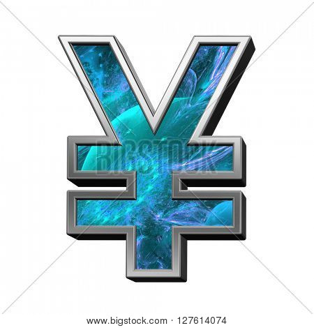 Yen sign from blue fractal alphabet set isolated over white. 3D illustration.