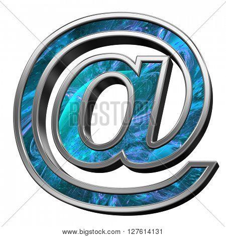 E-mail sign from blue fractal alphabet set isolated over white. 3D illustration.