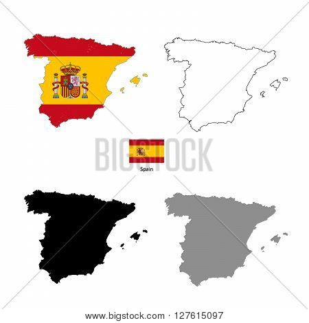 Spain country black silhouette and with flag on background isolated on white