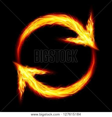 Two fire circular arrows on black background
