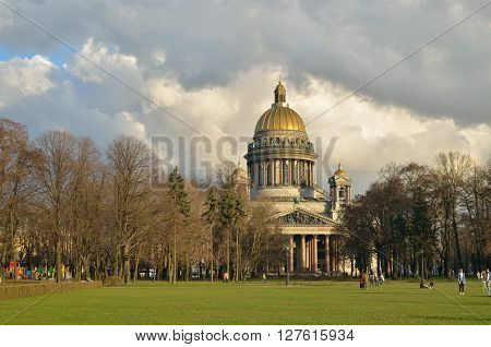 Russia.The City Of St. Petersburg.April 20 2016.View of St. Isaac's Cathedral.