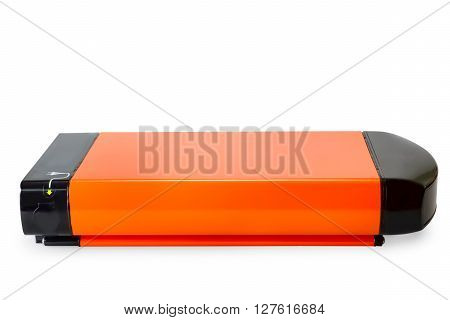 Orange li-ion battery for e-bike. Isolated on white with clipping path