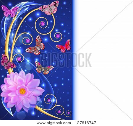 illustration abstract background with flowers and butterflies wi