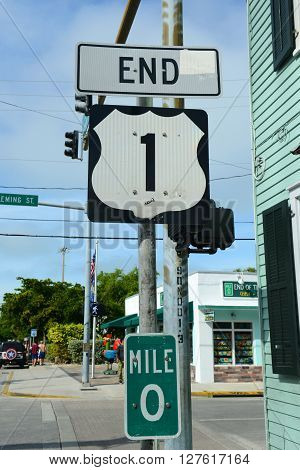 KEY WEST, FL, USA - JAN 1: End Point of US Route 1 sign (Mile zero) on Jan 1st, 2015 in Key West, Florida, USA.