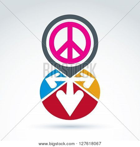 Vector conceptual love and peace sign colorful arrows in the shape of hearts. Freedom and harmony idea.