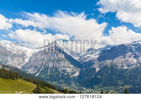 Panorama View Of Schreckhorn In Swiss Alps