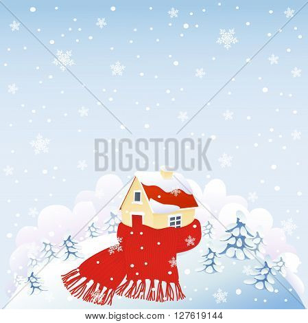 Cute house wrapped in red warm scarf on snowing hill