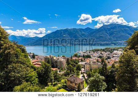 Aerial view of Locarno city and Mggiore lake on a sunny summer day canton of Ticino Switzerland.