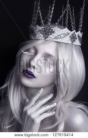 Snow Queen, Creative Closeup Portrait. Young Woman In Creative Image With Silver Artistic Make-up. W