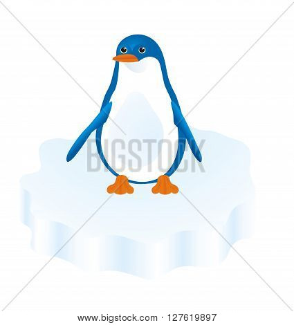 penguin stands on an ice floe and looks into the distance