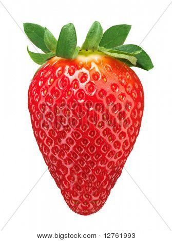single fresh red strawberry isolated on white background