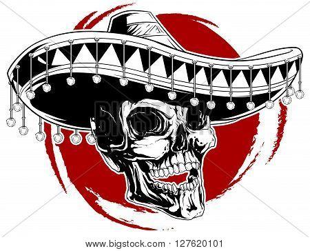 A vector illustration of cool skull tattoo in sombrero