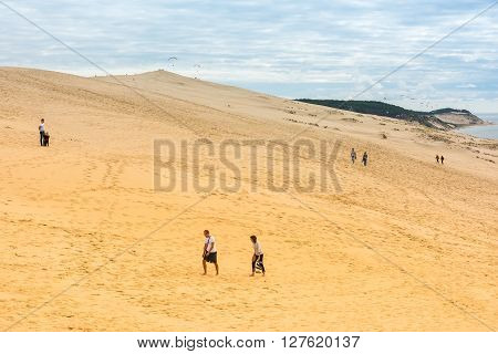 People Visiting The Highest Sand Dune Of Pyla In Europe