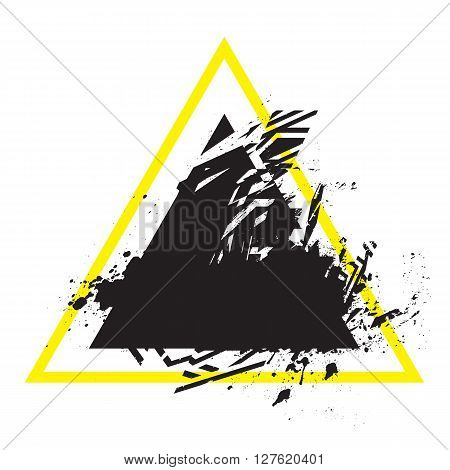 Vector Grunge Stylized Geometrical Shape With Splashes And Splatters. Triangle Symbol Exploded And D