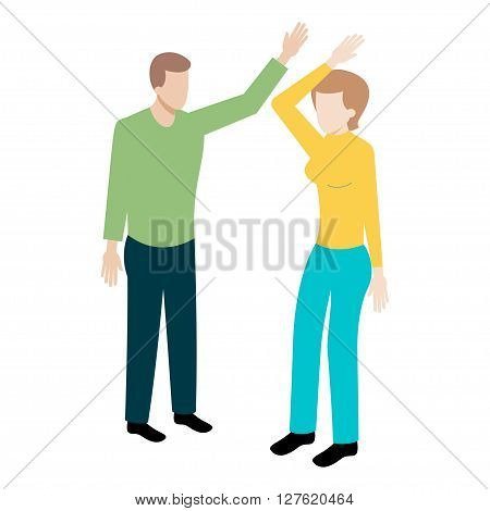 Conflict between man and woman isometric illustration