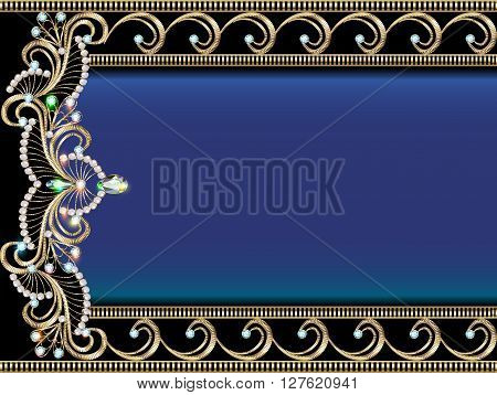 illustration background with Golden ornaments with precious ston