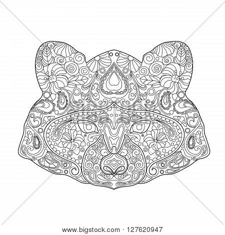 Ethnic Zentagle Ornate Hand Drawn Raccoon Head. Black and White Ink Doodle Vector Illustration. Sketch for Tattoo Poster Print or t-shirt. Relaxing Coloring Book for Adult and Children.