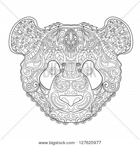 Ethnic Zentagle Ornate Hand Drawn Panda Head. Black and White Ink Doodle Vector Illustration. Sketch for Tattoo Poster Print or t-shirt. Relaxing Coloring Book for Adult and Children.