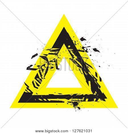 Vector Grunge Stylized Geometrical Shape Explosion. Triangle Symbol With Splatters And Splashes.
