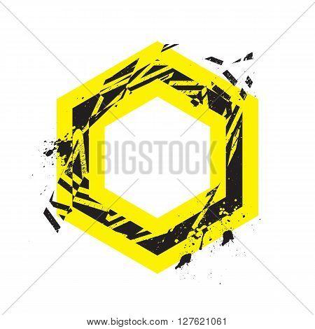 Vector Grunge Stylized Geometrical Shape Explosion. Hexagon Symbol With Splatters And Splashes.