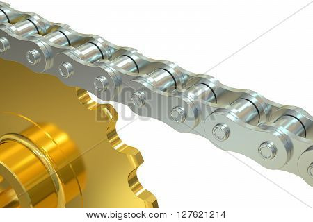 Bicycle Chain with gear 3D rendering isolated on white background