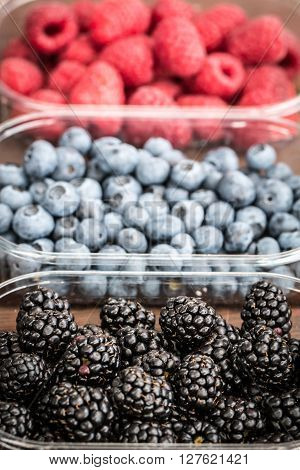 Fresh Summer Berries , Wooden Background, Healthy Food.