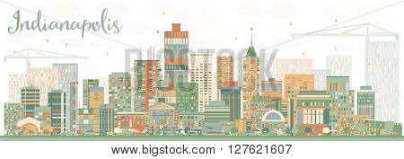 Abstract Indianapolis Skyline with Color Buildings. Business Travel and Tourism Concept with Modern Buildings. Image for Presentation Banner Placard and Web Site.